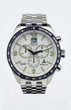Atlantic Worldmaster Big Date Chronograph Watch with Black Tachy Ring