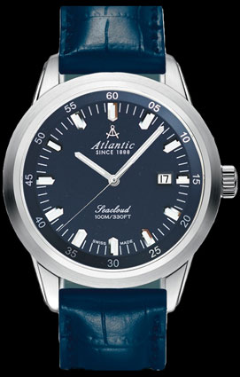 Atlantic Seacloud Dark Blue 100M Automatic Watch