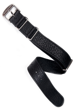 Leather Military Style Strap - Black 20mm