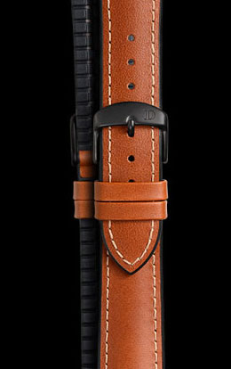 Damasko James 20mm Rubber Leather Strap with black buckle