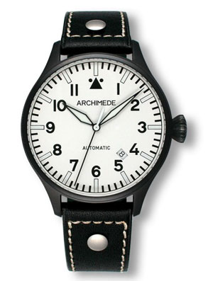 Archimede 42 Black Case White Dial Automatic Pilot Watch UA7919-A4.W1-SW