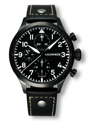 Archimede Black Case Automatic Chronograph Pilot Watch UA7939-C1.1SW