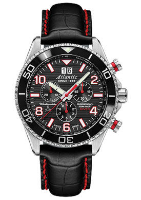 Atlantic Worldmaster Black/Red Dial 200M Chronograph Dive Watch