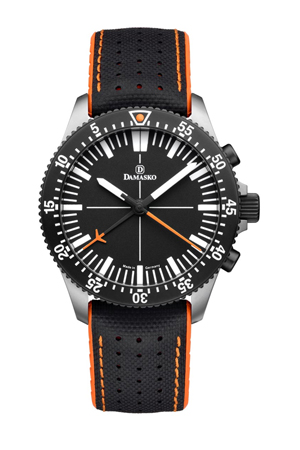 Custom Damasko DC80 Orange Bicolour LHV Watch with custom blue seconds hand totalizer