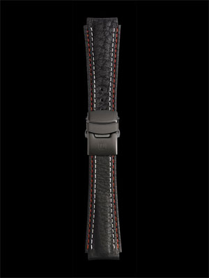 Damasko 22MM Strap with red and white stitch and black clasp