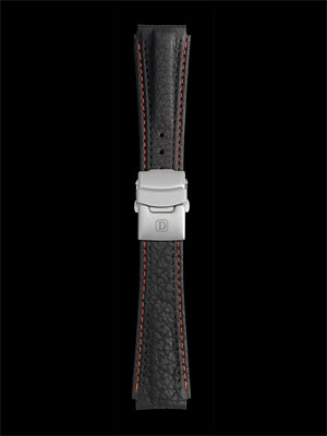 Damasko 22mm Leather strap black with red-black stitching with deployment buckle
