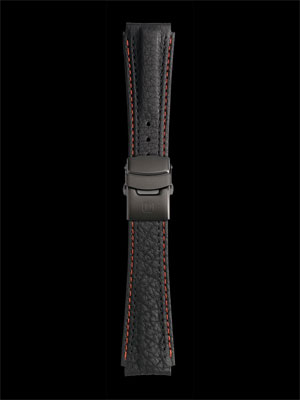 Damasko 22mm Leather strap black with red-black stitching with black clasp