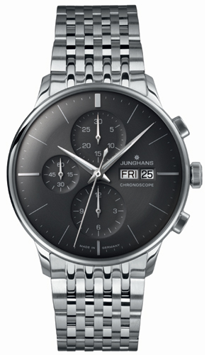Junghans Meister Chronoscope Sunray Dark Grey Dial Day Date Watch 027/4324.45