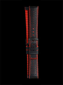 Damasko Robby Red 22mm Rubber Leather Strap with Black Buckle