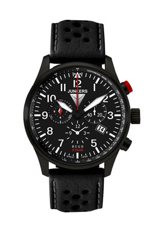 Junkers Black Alarm Chronograph Watch 6680-2