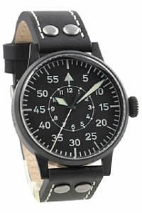 Laco Black Navigator Quartz Pilot Watch