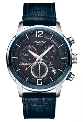 Atlantic Seasport Dark Blue Dial Sport Chronograph Watch 87461.47.55