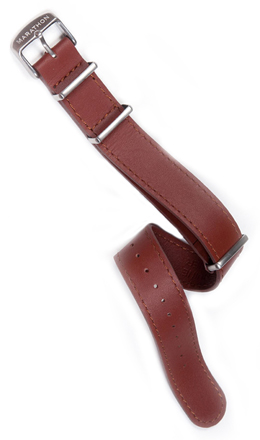 Leather Military Style Strap - Dark Tan 22mm
